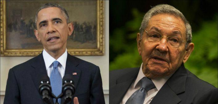 Barrack Obama y Raul Castro
